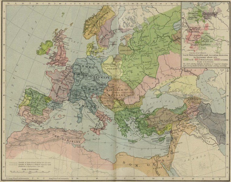 Map of Europe and the Mediterranean Lands 1190 Map of the Second and Third Crusade