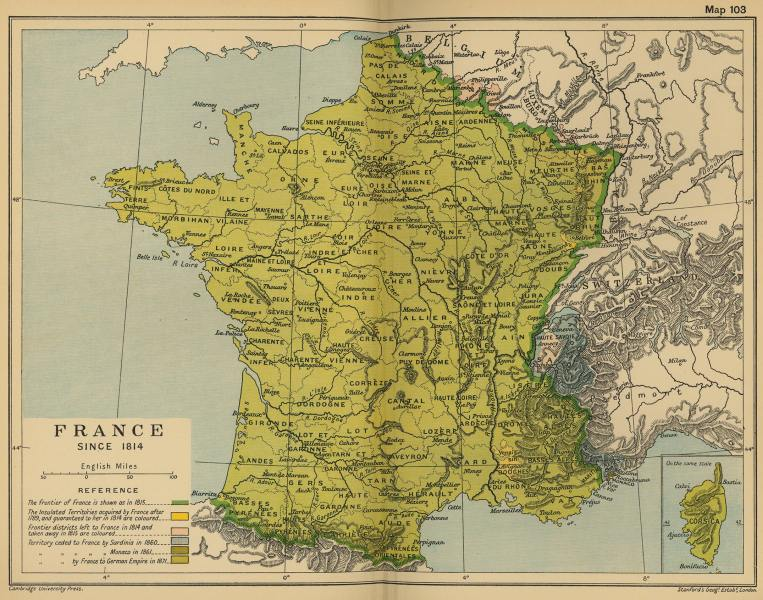 Map of France in 1814 Map of France since 1814