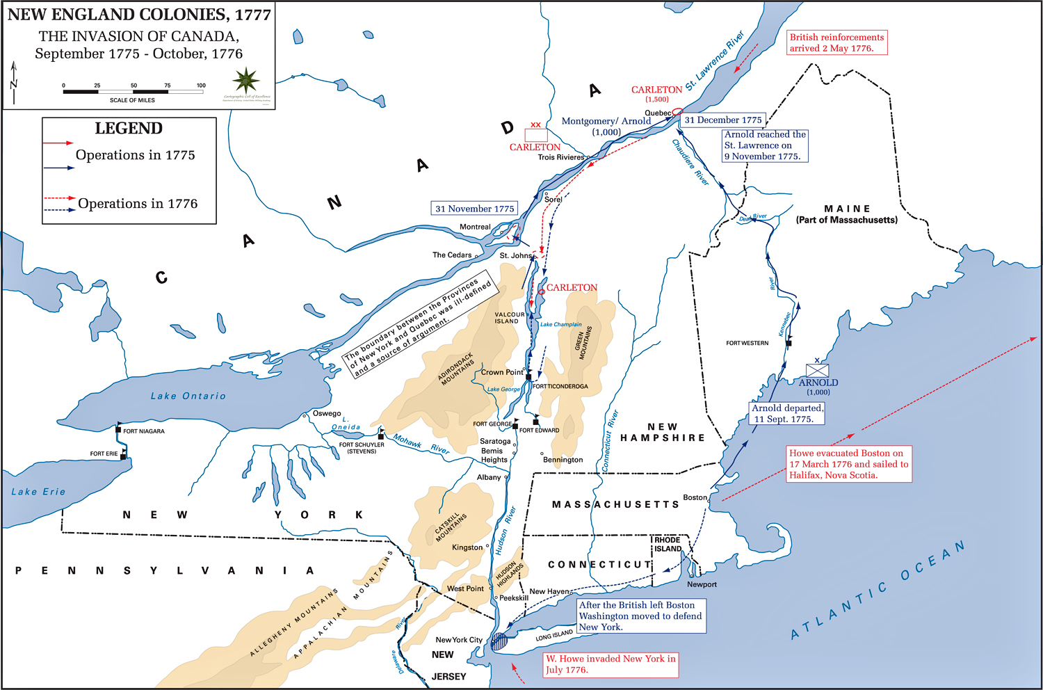 Map Of The American Revolution Campaigns