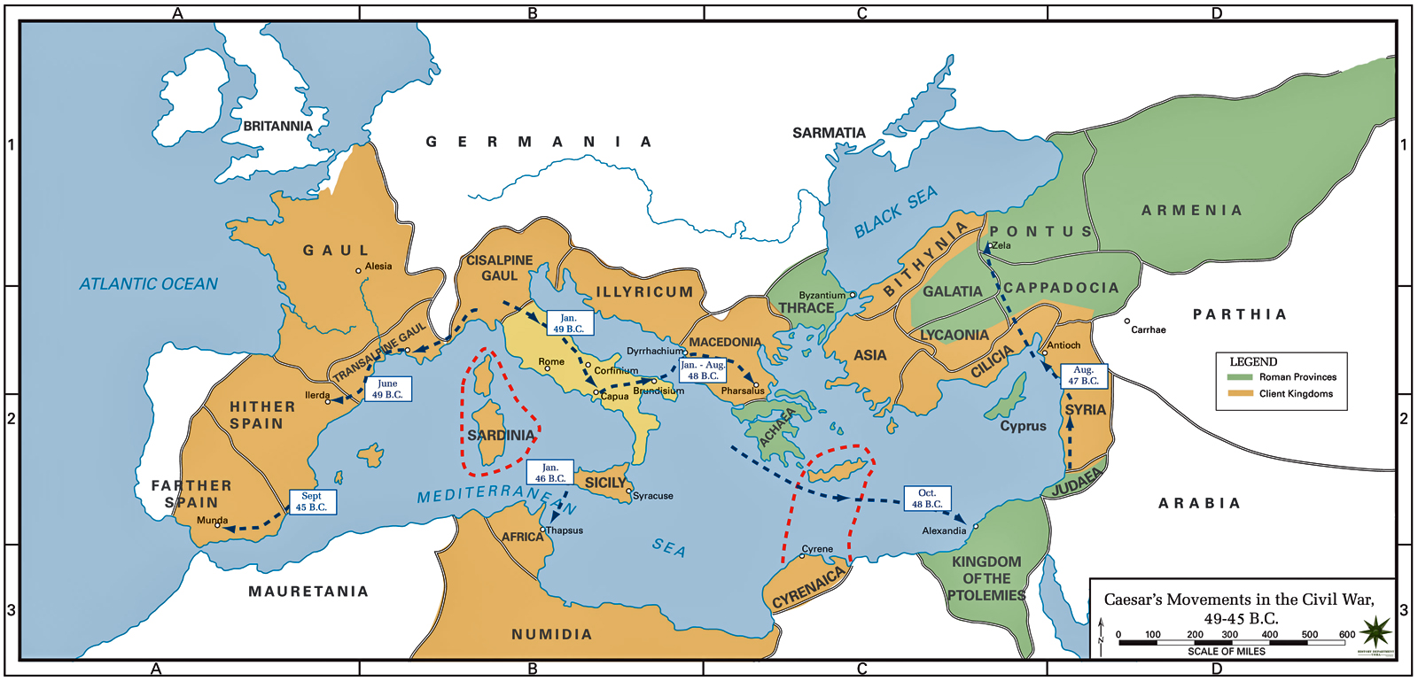 Map of the Roman Civil War 49-45 BC