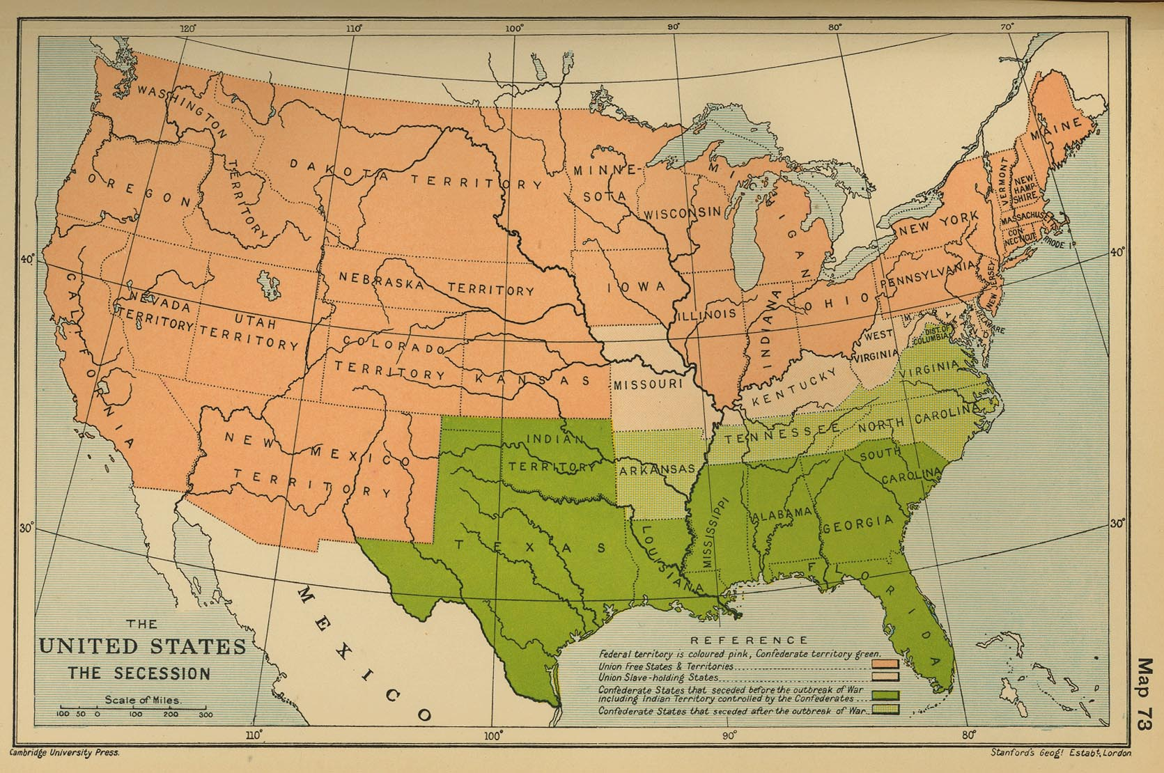 Map of the United States  The Secession Map of the United States  The Secession 1860