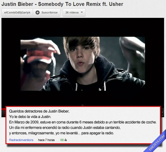 Los mejores comentarios de youtube: Justin bieber radio