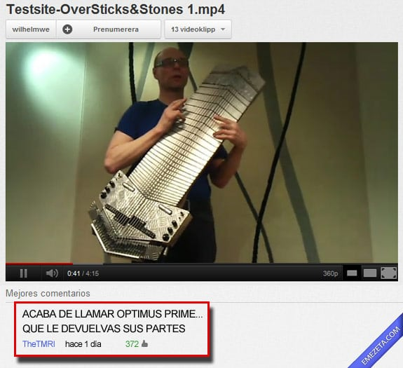 Los mejores comentarios de youtube: Optimus prime