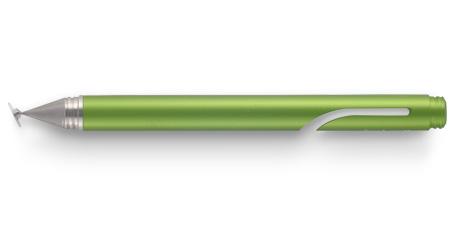 Imagen de un Adonit Jot Mini en verde metalizado, donde se puede ver el extraño disco que tiene en la punta