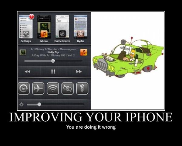 Comparando un iPhone con jailbreak con el coche fantástico de Homer Simpson