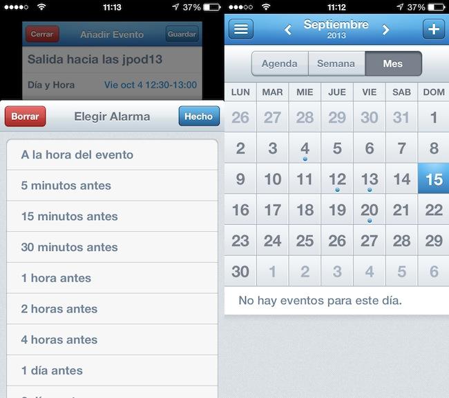Añadir alarma y calendario mensual