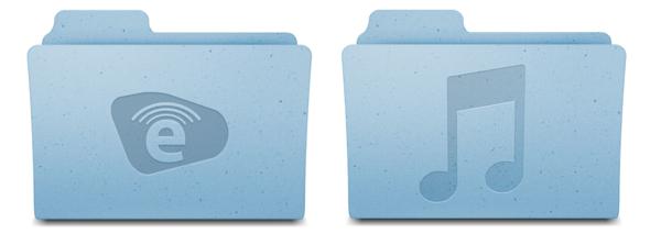 Carpeta de música del sistema junto a una carpeta con el logo de Emilcar