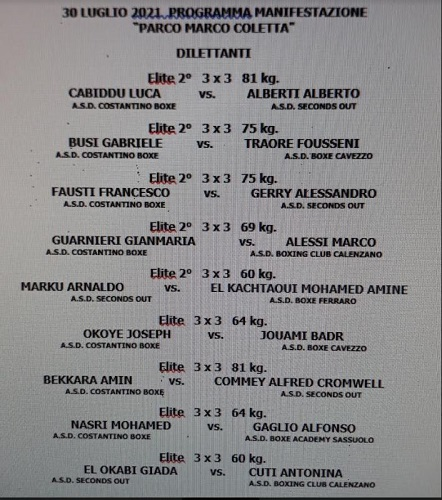"""Al parco Coletta la manifestazione """"Rumble under the Towers"""", interregionale di boxe olimpica con gli atleti della Costantino Boxe"""