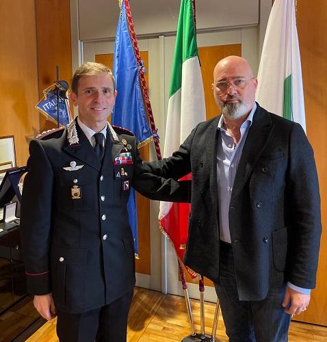 Il presidente Bonaccini riceve il nuovo comandante provinciale dei Carabinieri di Bologna, Rodolfo Santovito