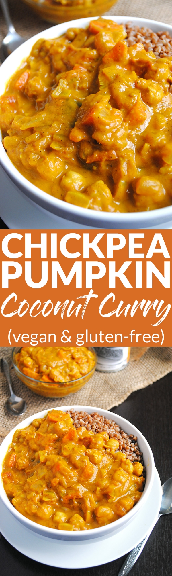 This easy Chickpea Pumpkin Coconut Curry is a delicious, comforting soup for fall and winter and will warm you up from the inside out! (vegan & gluten-free)