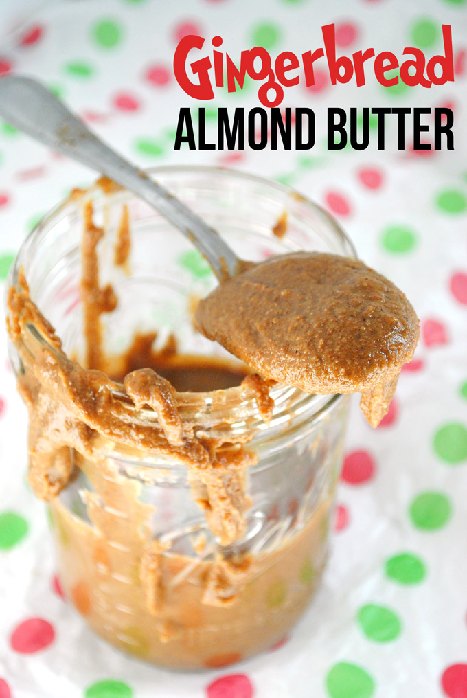 Creamy, dreamy, with the perfect amount of delicious wintry spices, this easy Homemade Gingerbread Almond Butter tastes just like the cookie!