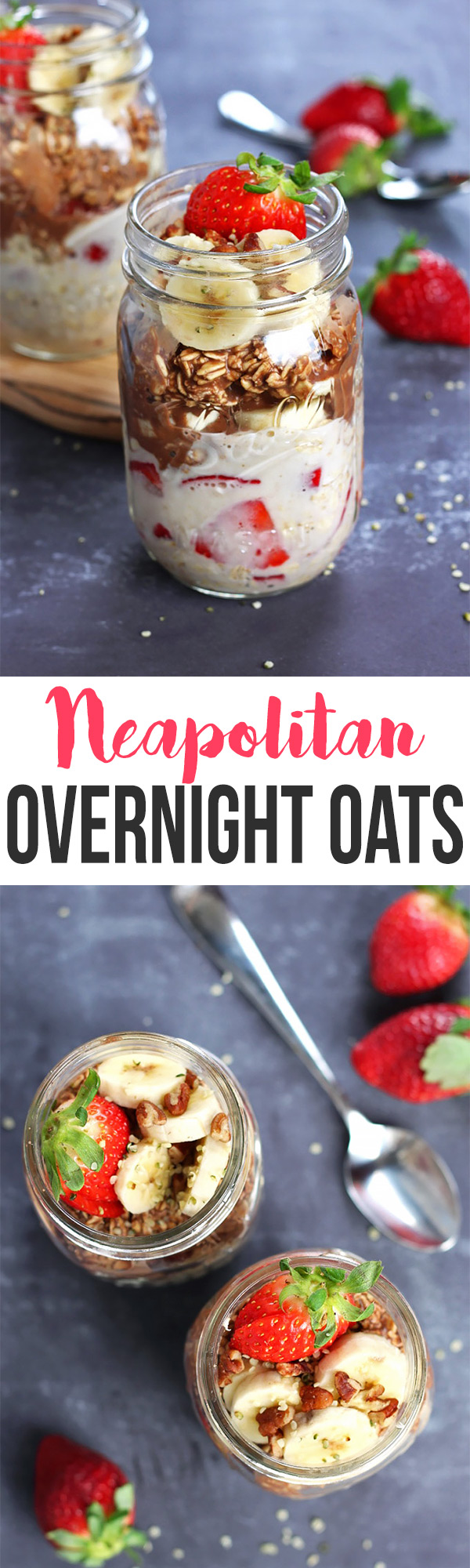 Put a fun twist on your breakfast with these Neapolitan Overnight Oats! They're sweet, easy to make, and a healthy alternative to the ice cream flavor. It's a breakfast win!