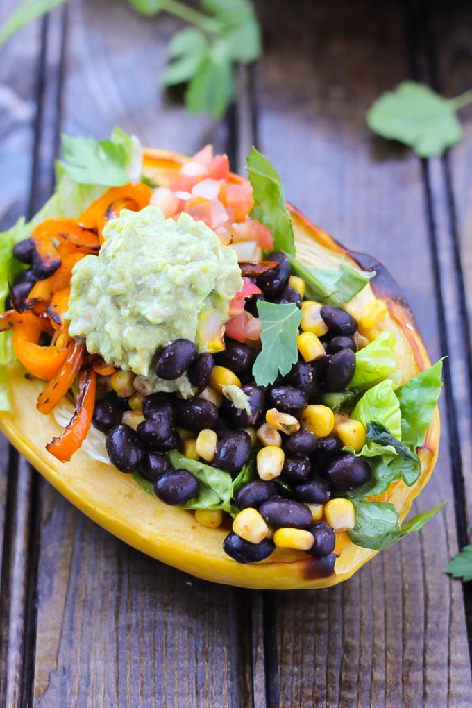 Skip Chipotle and have a Spaghetti Squash Burrito Bowl instead! They're loaded with vegetables and savory Mexican flavor. Ready in less than an hour!