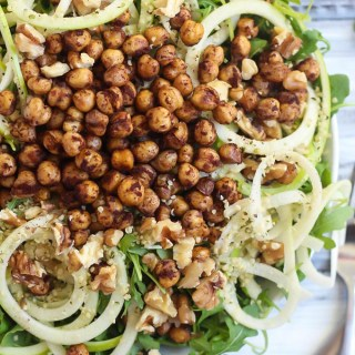 Apple Arugula Salad with Cinnamon Roasted Chickpeas