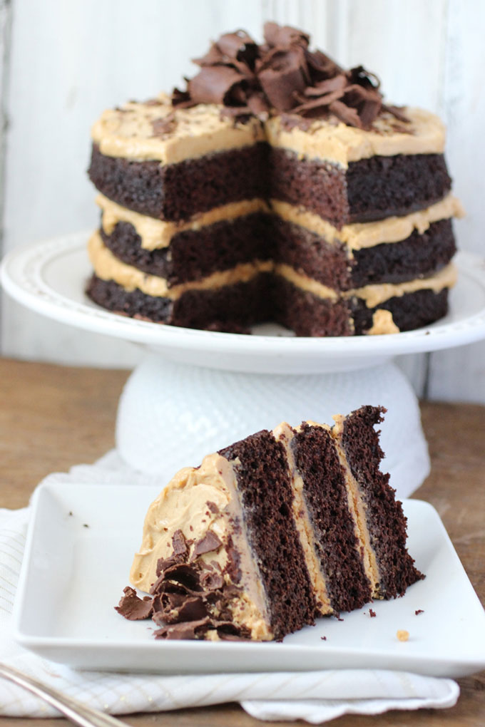 Chocolate Peanut Butter Cake by Dora Daily