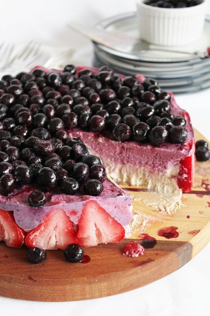 Gluten-free Blueberry Strawberry Banana Ice Cream Cake by This Rawsome Vegan Life