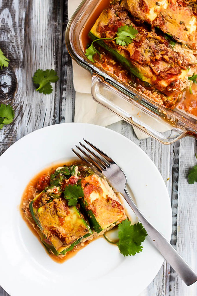 A lighter spin on a classic comfort food, this Vegan Zucchini Lasagna is filling & packed with vegetables. The tofu ricotta tastes just like the real stuff!