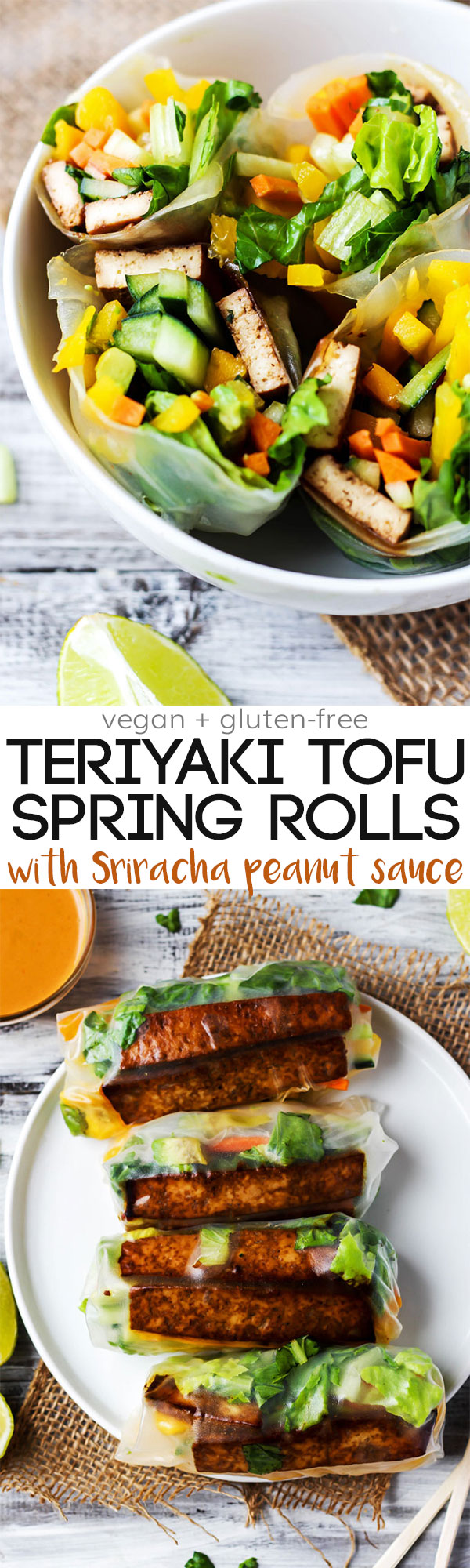 Enjoy a few Teriyaki Tofu Spring Rolls for a healthy lunch or dinner that's packed with fresh vegetables! Vegan, gluten-free & ready in under 1 hour.