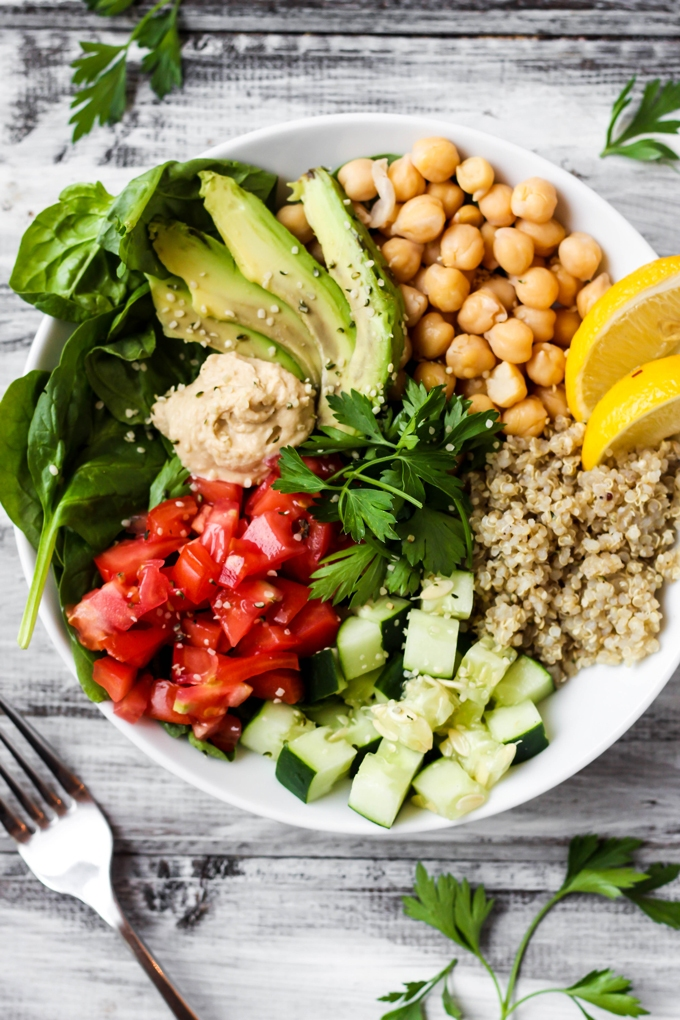 Greek quinoa buddha bowl a special announcement emilie eats full of greens and beans this greek quinoa buddha bowl is the ultimate healthy lunch forumfinder Images