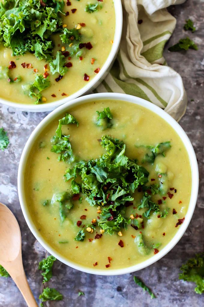 Cheesy Vegan Potato Kale Soup Emilie Eats