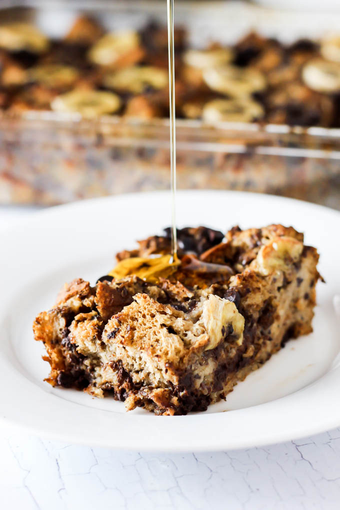 This Banana Chocolate Chip Vegan French Toast Casserole is the most delicious way to start any morning! Serve it as a healthier crowd-pleasing breakfast.