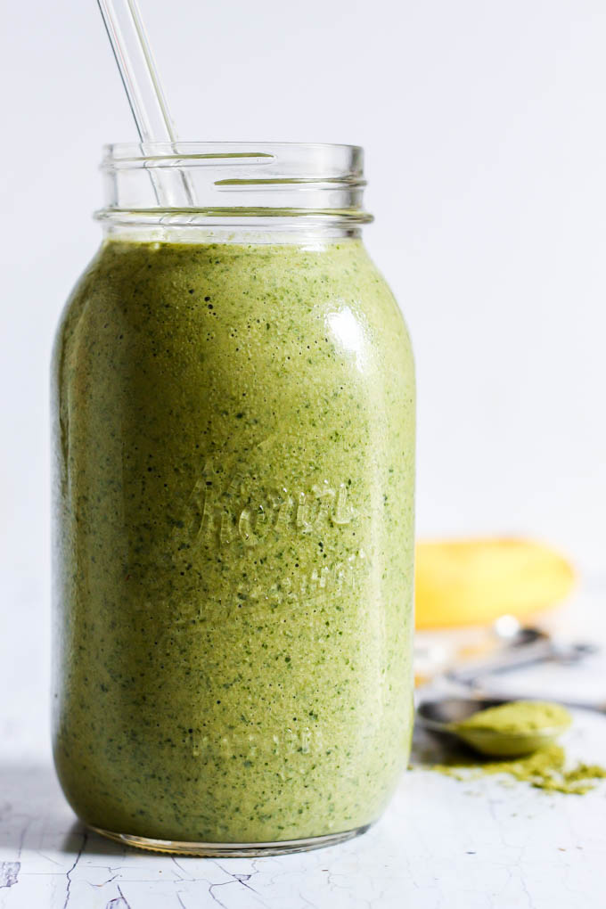 A healthy, refreshing breakfast or snack, this Banana Matcha Green Tea Smoothie is simple to throw together in a hurry. So creamy! (vegan & gluten-free)