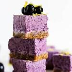 No Bake Lemon Blueberry Cheesecake Bars (vegan & gluten-free)