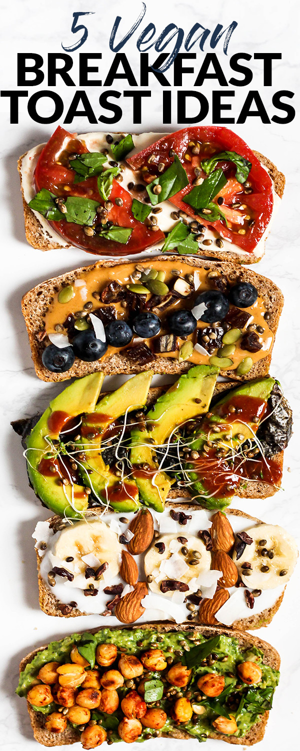 Amp up your plain piece of toast with these 5 Vegan Breakfast Toast Ideas! With both sweet & savory options, there's a toast creation perfect for any craving. (can be gluten-free)