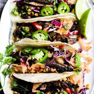 Grilled Vegetable Portobello Mushroom Tacos (vegan & gluten-free)