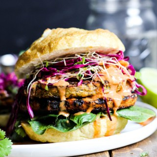 Asian Veggie Burgers with Mango Cabbage Slaw