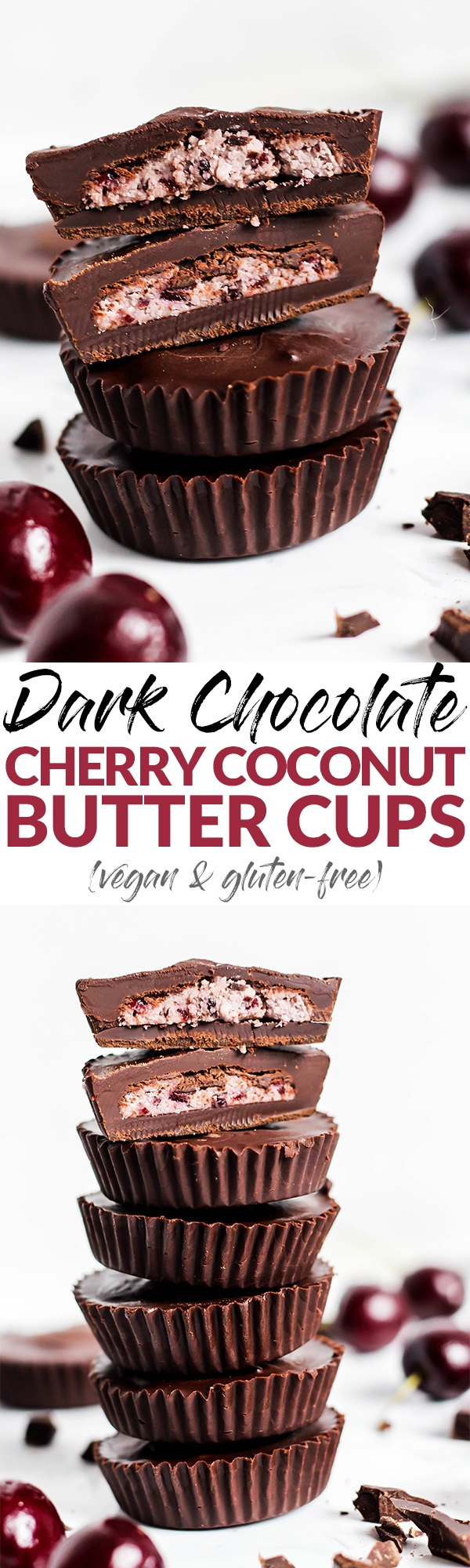 Fruity Dark Chocolate Cherry Coconut Butter Cups make a tasty snack or dessert that's perfectly bite-sized! Only 5 ingredients, vegan & gluten-free.