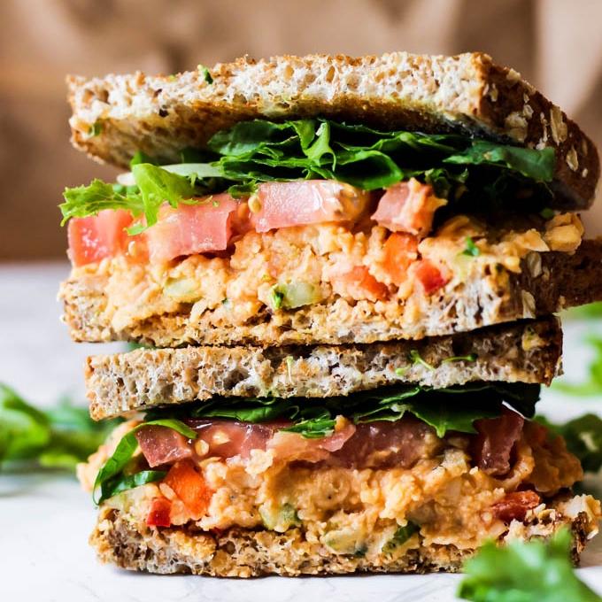 vegan buffalo chickpea salad sandwich easy healthy lunch dinner square jpg