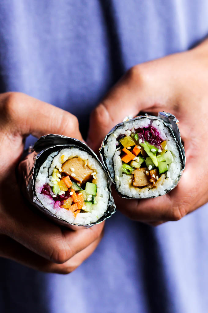 You may never go back to traditional sushi after one bite of this Vegan Teriyaki Sushi Burrito! It's perfect for taking on-the-go. Satisfying & delicious!