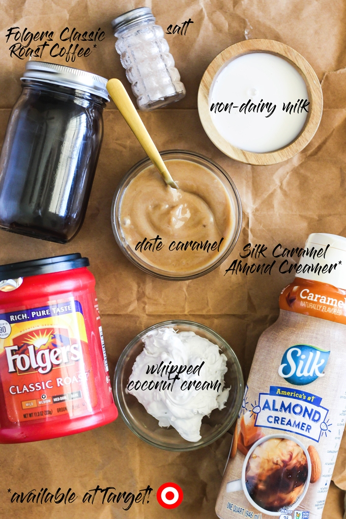 Treat yourself during the colder months to a creamy Dairy-Free Salted Caramel Latte! It's a tasty vegan coffee drink perfect to serve during the holidays.
