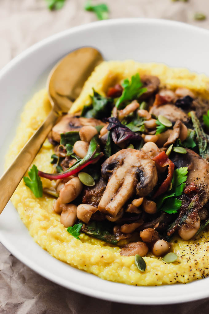 This Creamy Vegan Polenta with Mushrooms and Beans is an easy 30-minute dinner packed with whole grains, plant protein, and vegetables. Leftovers make great lunches!