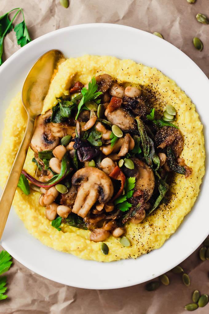 Creamy Vegan Polenta with Mushrooms and Beans