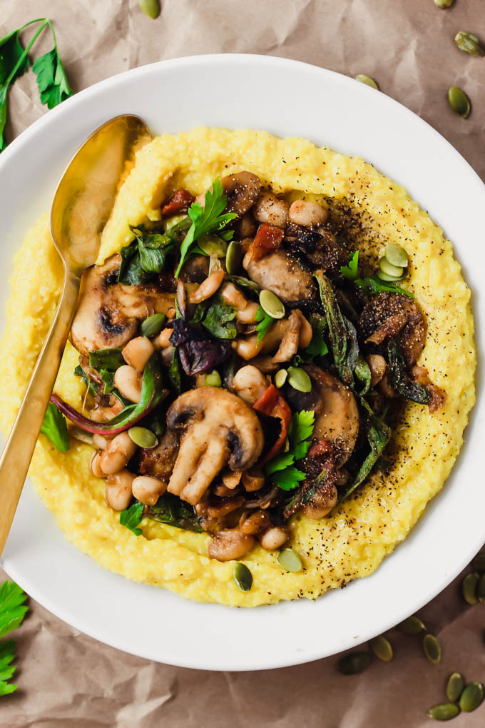 Creamy Vegan Polenta With Mushrooms And Beans Emilie Eats