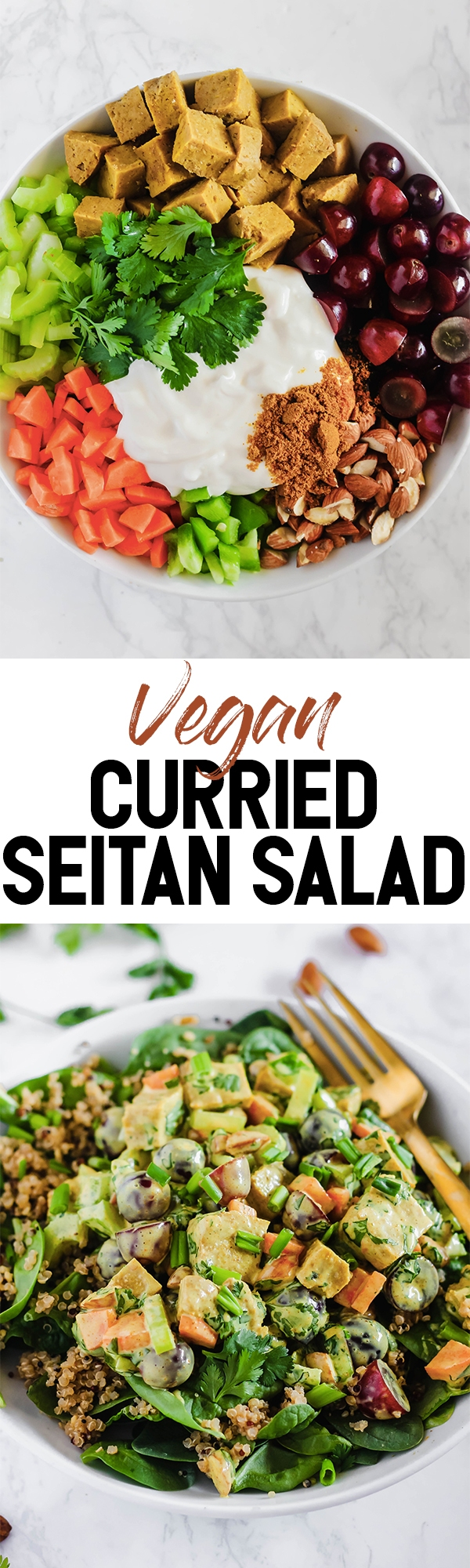 This creamy Curried Seitan Salad requires no cooking and is a refreshing meal to help you cool off this summer! It's full of crunchy vegetables, protein-packed seitan and sweet grapes. (vegan)