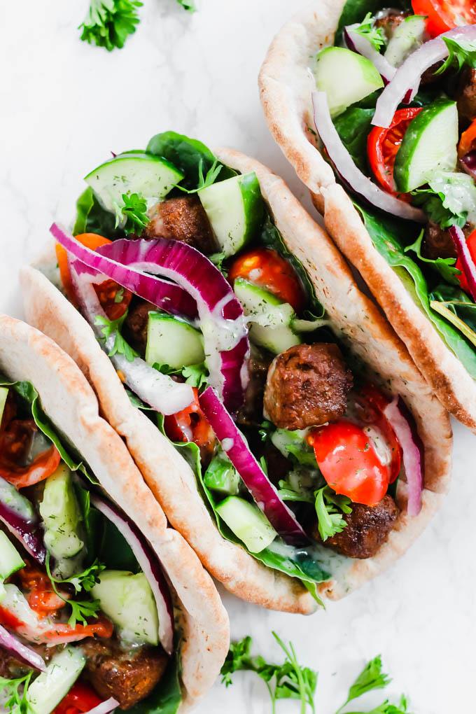 Vegan Beef Gyros With Tzatziki Sauce Emilie Eats