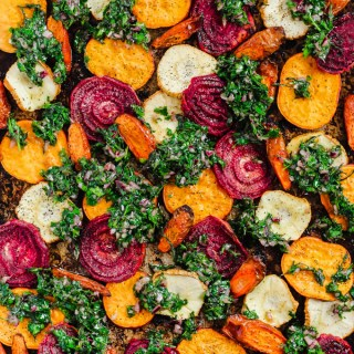 Roasted Root Vegetables with Carrot Top Chimichurri
