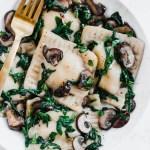 Tofu Ricotta Vegan Ravioli with Mushrooms