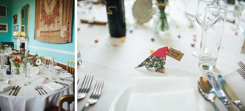 Walcot Hall Wedding Photography - Colourful venue decor.