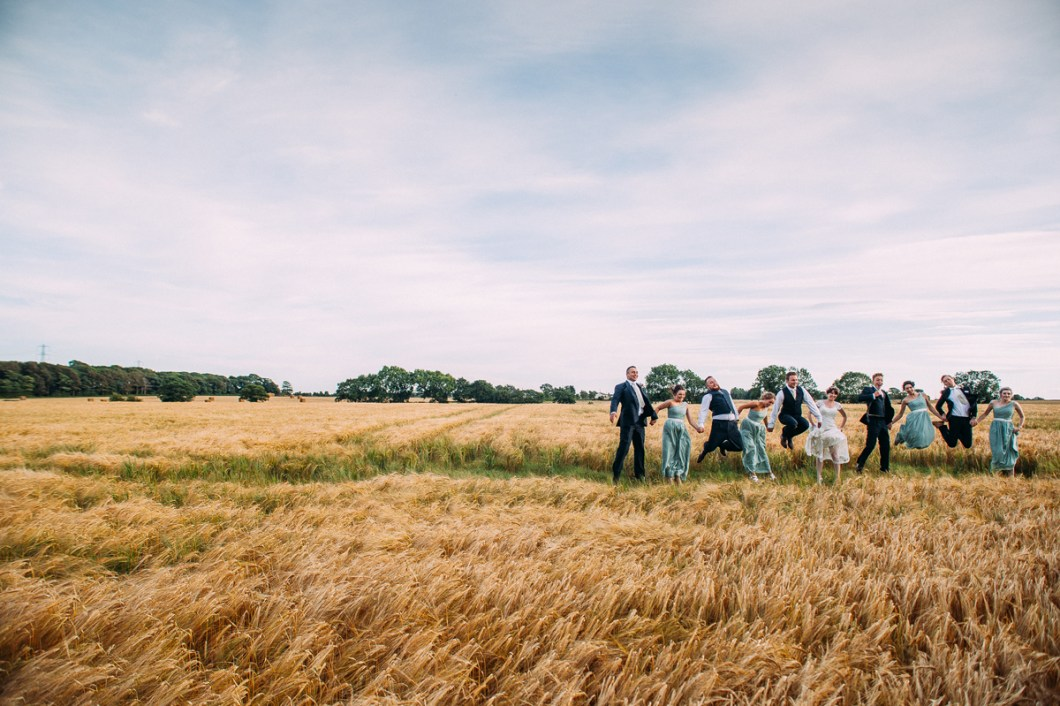 Fun wedding photo in the cornfields