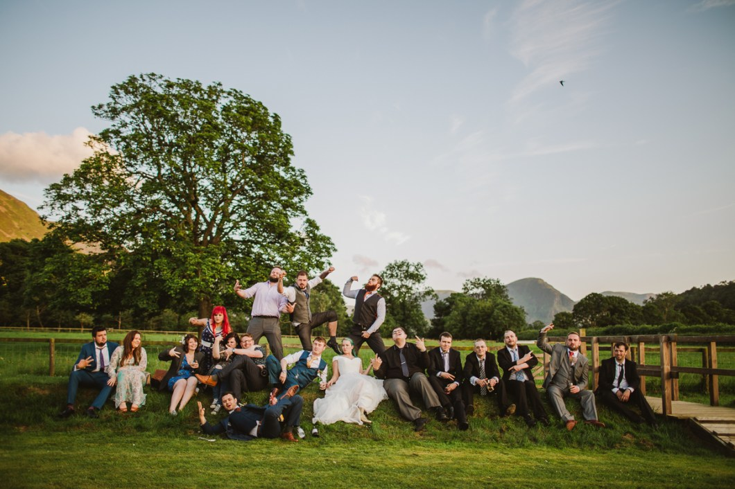 New house farm wedding party