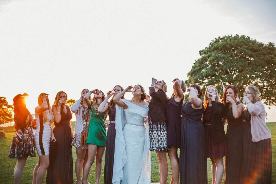 Bride and her friends doing shots