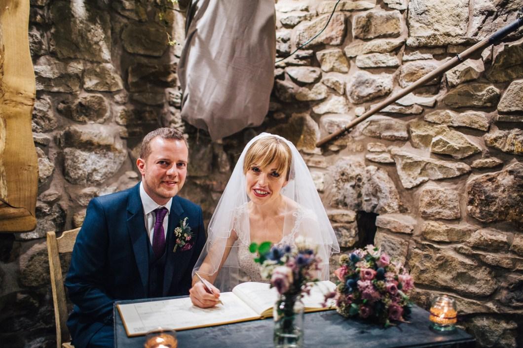 Barn wedding ceremony Wales
