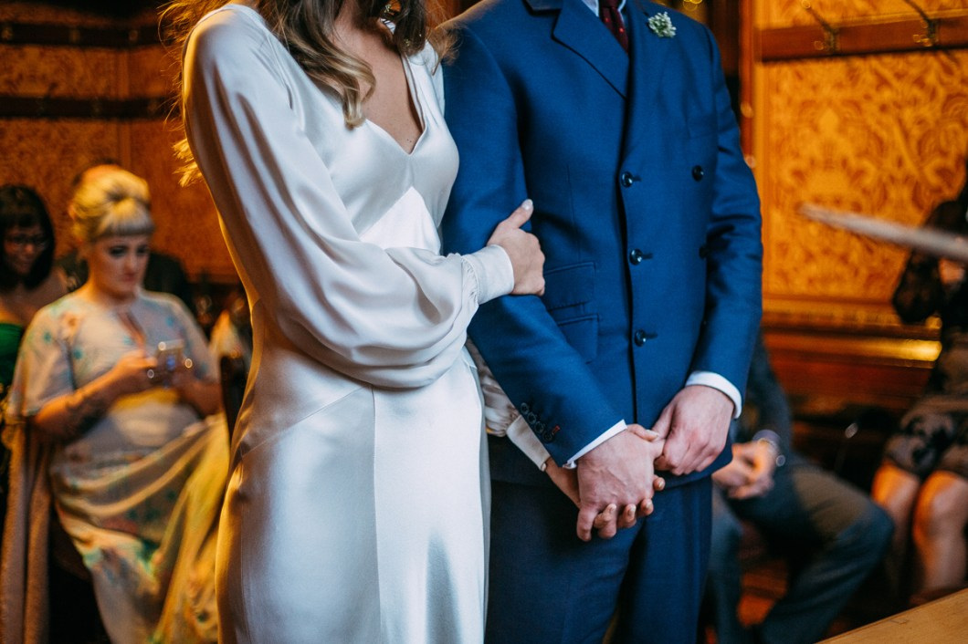 Silk wedding dress with long sleeves