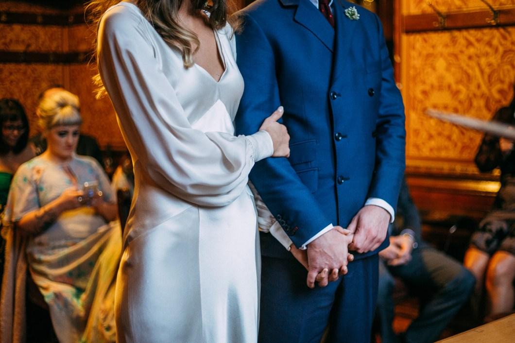Silk wedding dress with long sleeves