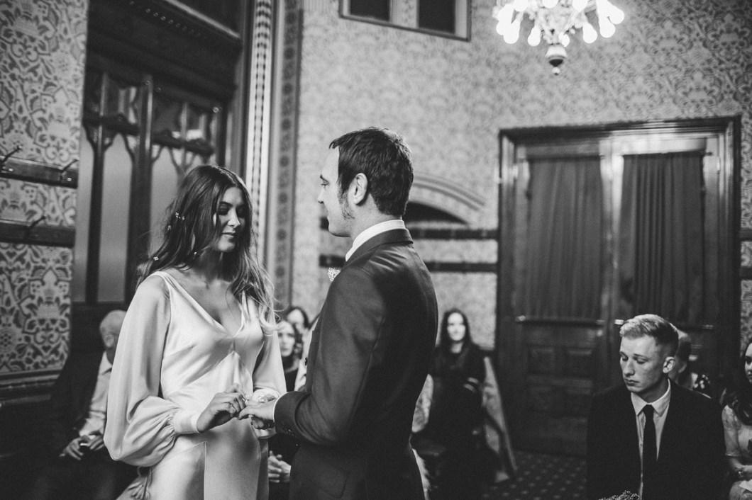 Boho bride at her wedding