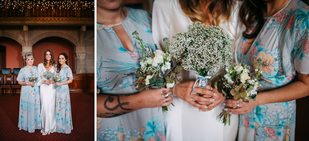 Boho floral bridesmaid dresses and white bouquets